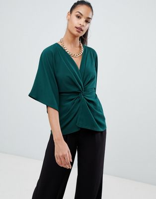 Boohoo twist front kimono sleeve top in dark green