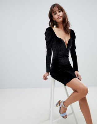 Boohoo Velvet 80's Shoulder Plunge Bodycon Dress