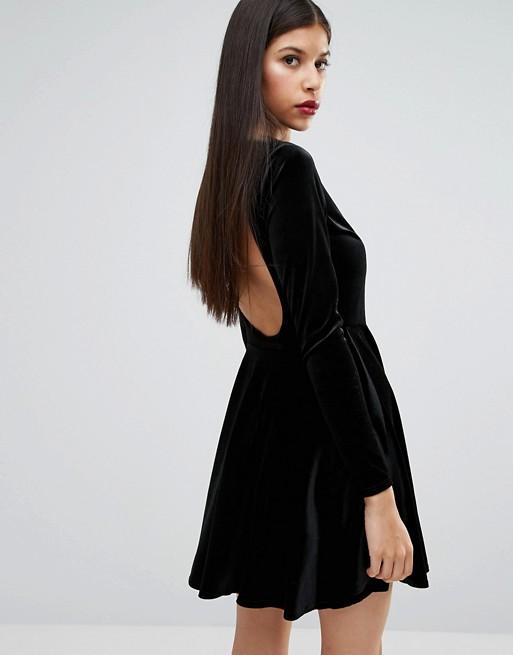 Image 1 of Boohoo Velvet Open Back Skater Dress