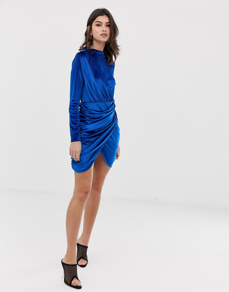 Boohoo Velvet Rouched Wrap Front Mini Dress In Blue by Boohoo
