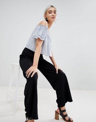 Boohoo Wide Leg Pleat Front Trouser