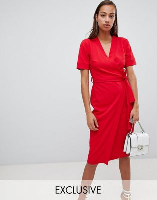 Boohoo Wrap Midi Dress