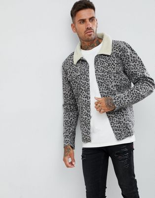 boohooMAN borg collar denim jacket in leopard print