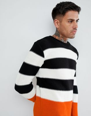boohooMAN Colourblock Jumper In Orange