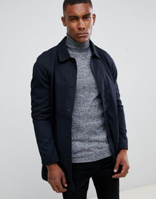Image 1 of boohooMAN cotton mac in navy