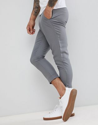 boohooMAN cropped pinstripe trousers in grey