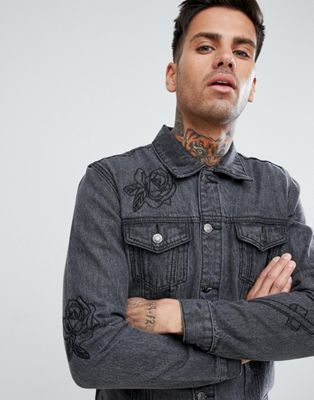 Image 1 of boohooMAN Denim Jacket With Rose Embroidery In Black Wash