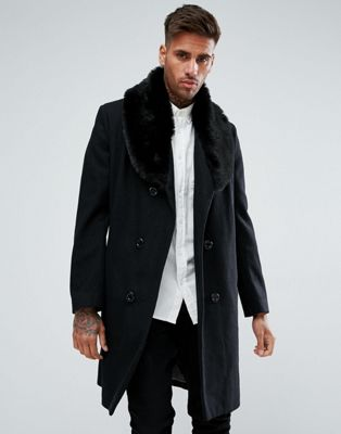 boohooMAN Double Breasted Wool Overcoat With Faux Fur Trim In Black
