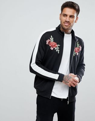 boohooMAN Floral Embroidered Jacket With Sleeve Stripe In Black