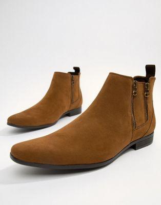 boohooMAN – Hellbraune Chelsea-Stiefel mit Reißverschluss