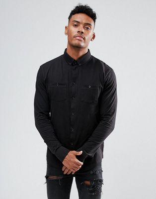 Image 1 of boohooMAN Jersey Shirt With Double Pockets In Black