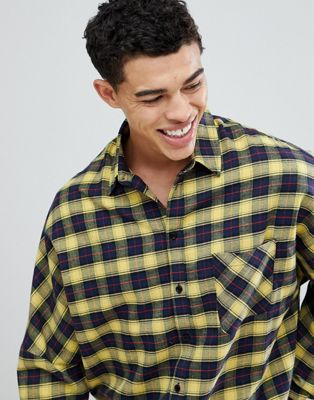 boohooMAN Oversized Shirt In Yellow Check