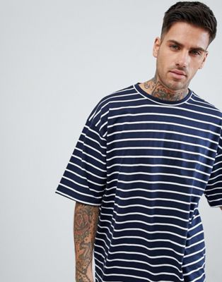 boohooMAN Oversized T-Shirt In Navy Stripe