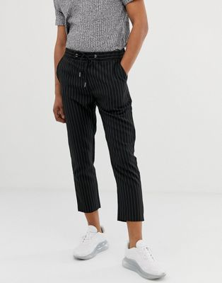 boohooMAN Pinstripe Cropped Pants In Black