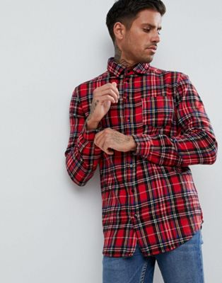 boohooMAN Regular Fit Shirt In Red Check