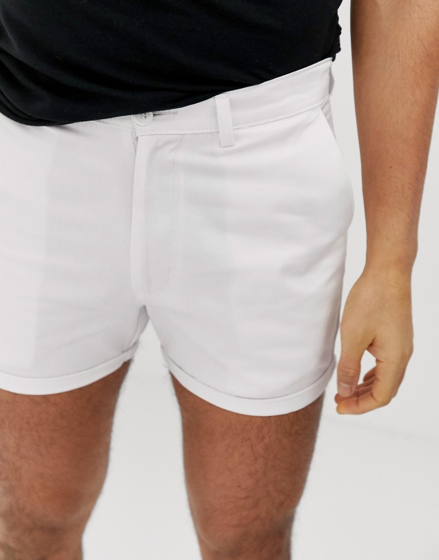 Boohoo Man Short Chino Shorts In White by Boohoo Man
