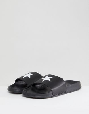 boohooMAN Sliders With Star Print In Black