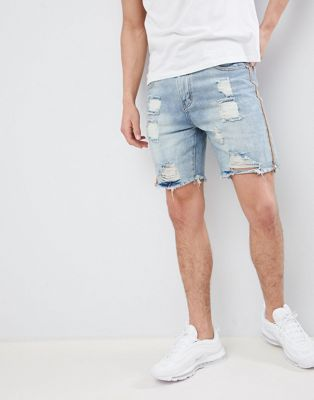boohooMAN Slim Fit Shorts With Rips In Light Blue Wash