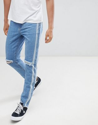 boohooMAN slim jeans in blue wash