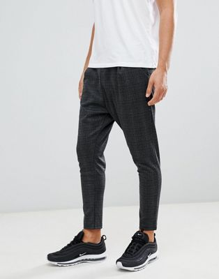 boohooMAN smart pants with drawstring waist in gray check