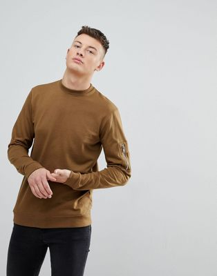 boohooMAN Sweat With Zip Pocket Detail In Tan