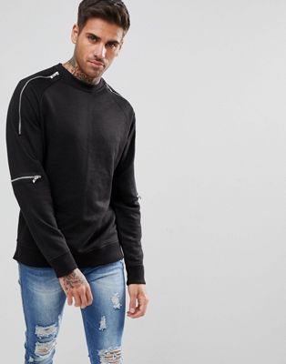 boohooMAN Sweatshirt With Zip Detail In Black