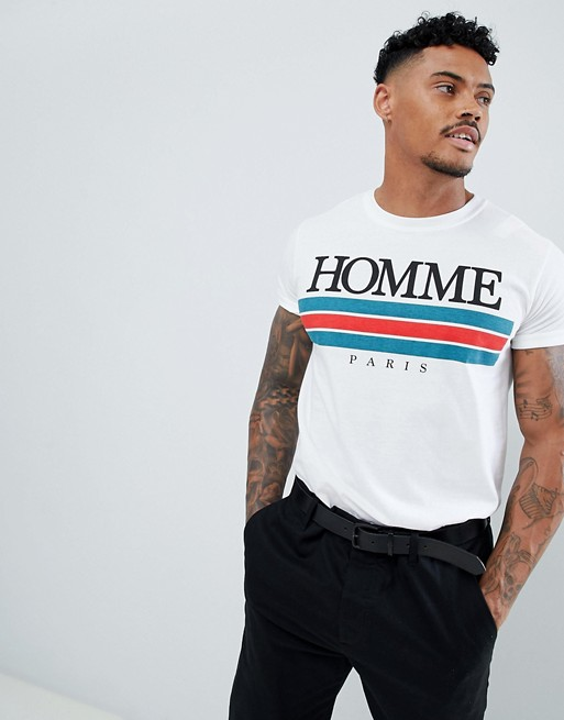 Image 1 of boohooMAN t-shirt with homme Paris print in white
