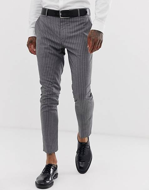 boohooMAN tapered suit trousers in grey pinstripe