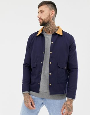 boohooMAN Worker Jacket With Cord Collar In Navy