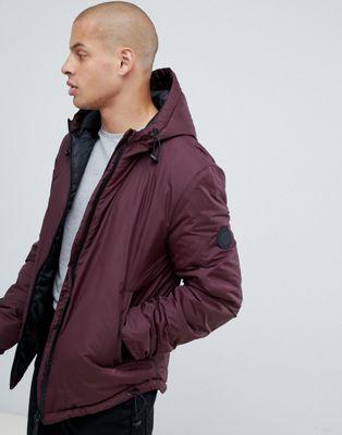 Изображение 1 из Бордовая дутая куртка с капюшоном Religion