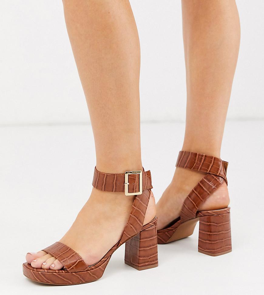 Босоножки на каблуке и платформе для широкой стопы ASOS DESIGN-Светло-коричневый