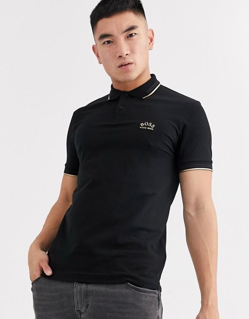 BOSS - Athleisure - Paul - Polo avec logo doré - Noir