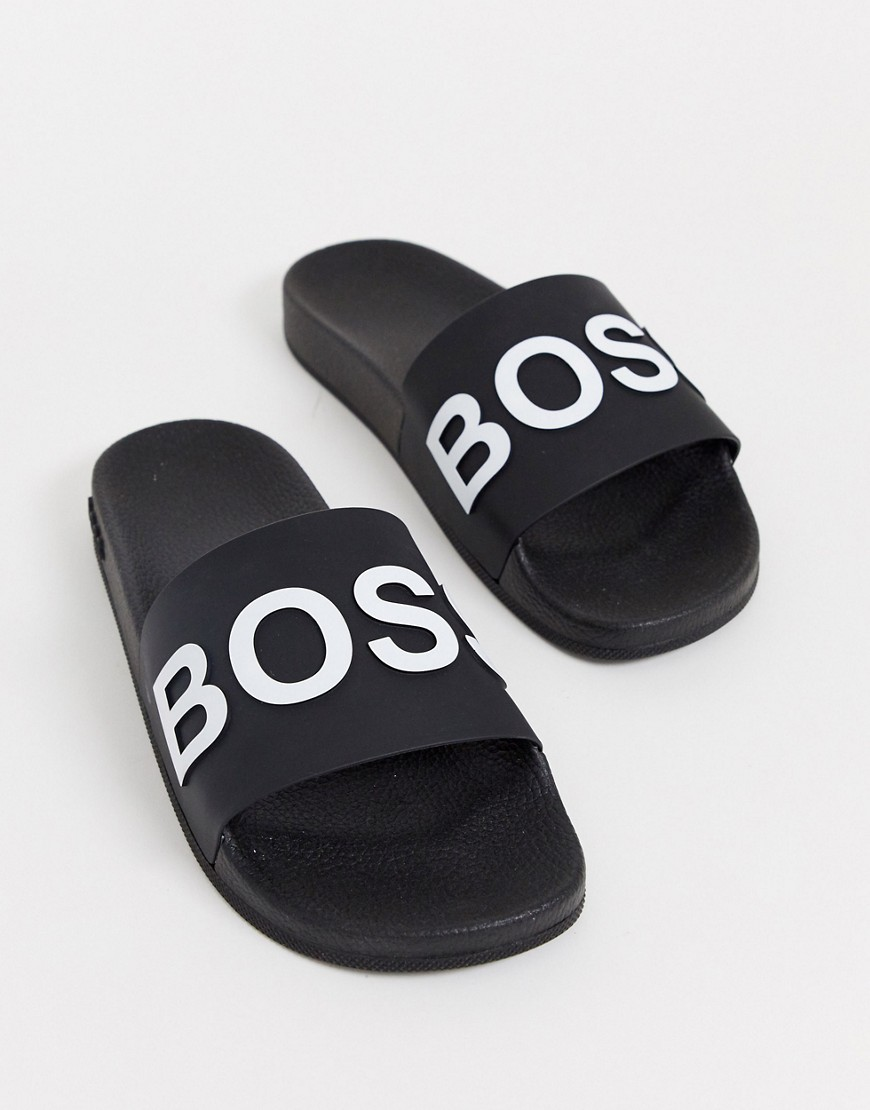 Boss Bay Slippers in zwart