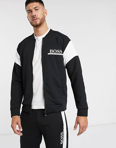 BOSS bodywear logo zip through track jacket in color block SUIT5