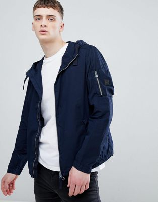 Boss hooded zip through jacket in navy