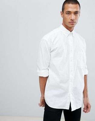 BOSS Leight relaxed fit buttondown oxford shirt in white