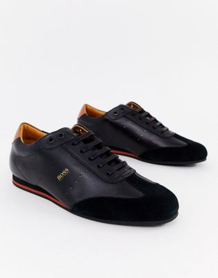 Image 1 of BOSS Lighter Lowp suede leather mix sneakers in black