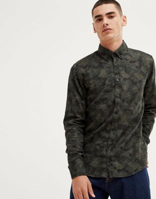Boss Mabsoot slim fit buttondown oxford shirt in abstract camo