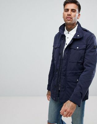 BOSS Nylon Four Pocket Field Jacket in Navy
