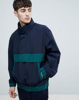 BOSS Okroos overhead anorak in navy/green