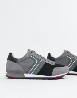 Boss Parkour runn suede nylon sneakers in grey