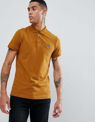 BOSS Passenger slim fit logo polo in camel