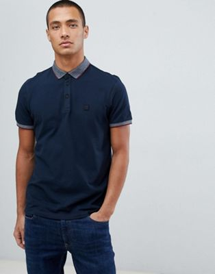 Boss Porches relaxed fit logo polo with contrast collar in navy