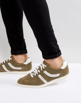 BOSS Rumba Stripe Trainers in Khaki
