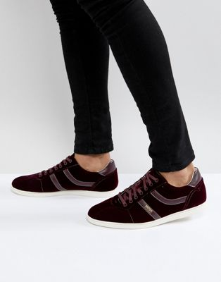 BOSS Rumba Velvet Trainers in Burgundy