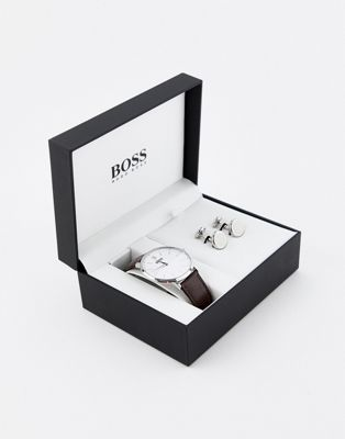 BOSS Signet leather watch & cufflink gift set