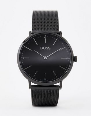 BOSS Signet mesh watch & cufflink gift set