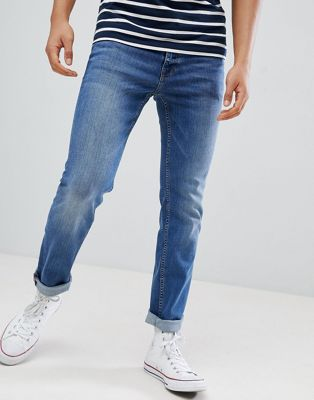 BOSS slim fit mid wash jeans