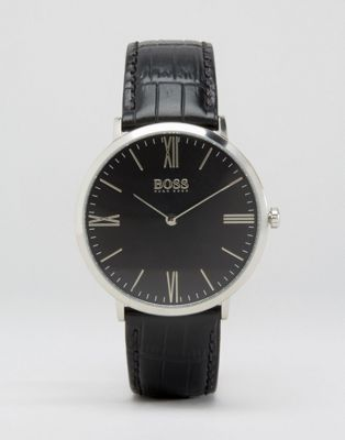 BOSS Slim Ultra Jackson Leather Watch In Black