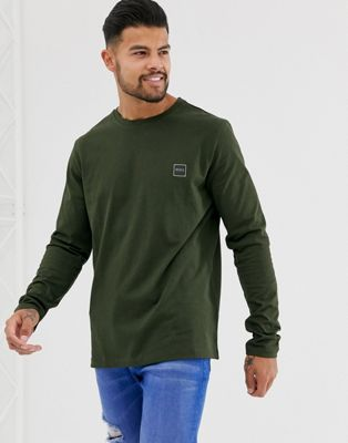 BOSS Tacks small logo long sleeve t-shirt in khaki